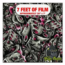 Hydrographic Film Hot Pink Flaming Dice Skulls Hydro Dipping 7 X 20 Hydro Dip
