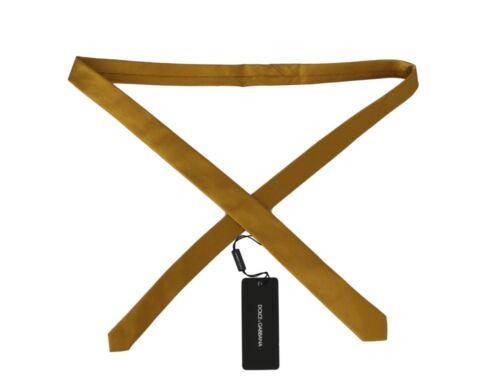 NEW $200 DOLCE /& GABBANA Tie Yellow 100/% Silk Solid 4cm Slim Classic Necktie