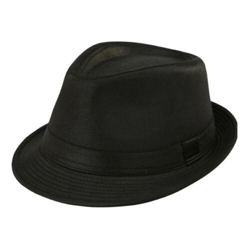UNISEX PLAIN BLACK COTTON TRILBY FEDORA HAT Retro Sizes 56 to 60cm Mens Ladies