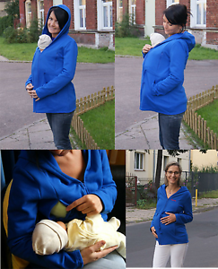 3 IN 1 MATERNITY NURSING BABYWEARING COTTON BLUE HOODIE PERFECT FOR SPRING