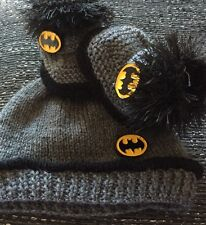 Brand New Unisex baby booties & Hat 0-3months  Batman Hand Knitted By Annie
