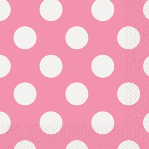 spots Fête D/'Anniversaire 25cm x 25cm Rose Polka Dots 16 Serviettes boisson -