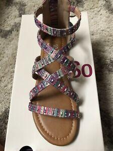 Girls Rainbow Gladiator Sandals Palm SO
