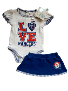OFFICIAL MLB *NWT BABY GIRL/'S TEXAS RANGERS 2-PC SKIRT OUTFIT SET