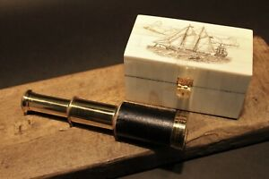 Vintage-Antique-Style-Schooner-Sail-Ship-Bone-amp-Wood-Scrimshaw-Box-w-Telescope