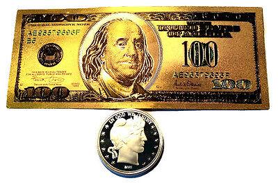 99.9/% 24K GOLD $100 BILL 1 TROY OUNCE .999 FINE 2017 AMERICAN SILVER EAGLE BU