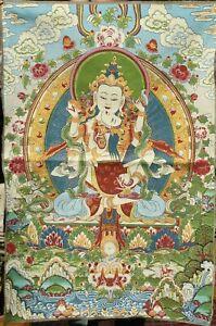 90CM Tibet Cloth Silk Buddhism 4 arms Chenrezig consort Thangka Tangka Mural