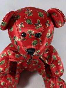 Echo Mistletoe and Holly Silk Bear Holiday Christmas Decor Red Green