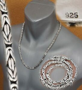 """4mm BALI BYZANTINE 925 STERLING SILVER MENS NECKLACE KING CHAIN 18 20 22 24 26/"""""""