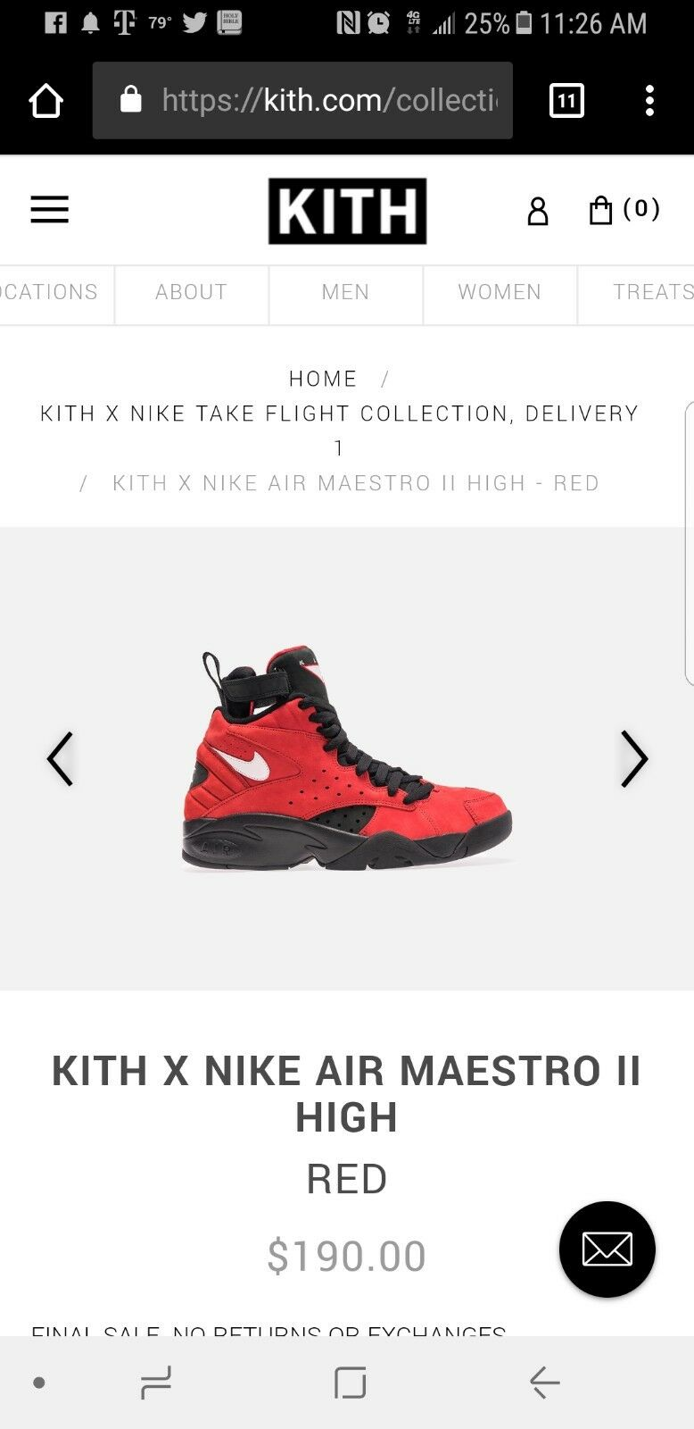 Kith x Nike Air Maestro II in in University Red, Black in II US Size 9.5 4d472b
