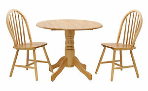 Dining Kitchen Table Set Small Two Drop Leaf Round Top Two Chairs Natural Finish Ebay