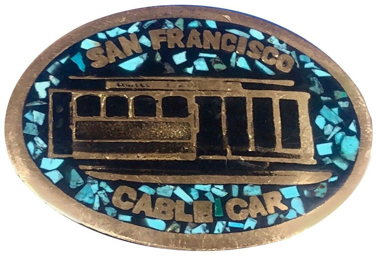 Vtg Turquoise Inlay Trolley Car Belt Buckle Cable San Francisco California Stone
