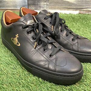 UK9-5-Vivienne-Westwood-Leather-Low-Top-Logo-Trainers-Designer-Shoes-EU44