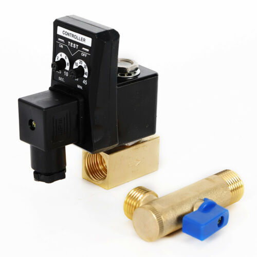 """AC 110V 1//2/"""" Electronic Timed 2 way Air Compressor Gas Tank Auto Drain Valve HOT"""