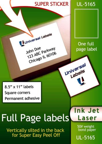 300 8.5 x 11 Full Page Quality Labels Made in the USA Vertical Peel slit
