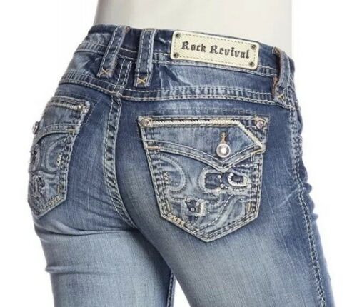 Rock Revival Stacia Mid Rise Skinny Jeans Topstitched Embellished Women's 24 NEW