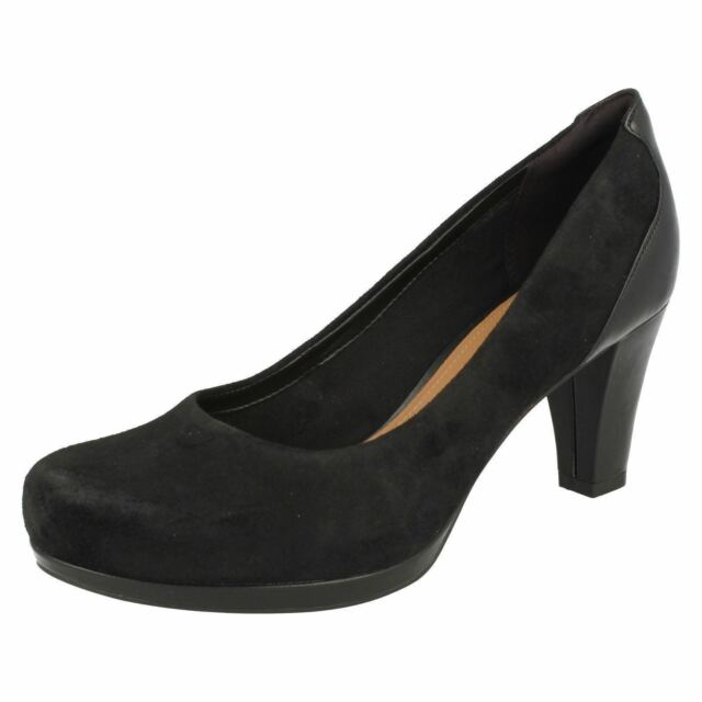 44c440b9d Clarks Chorus Chic - Black Suede Womens HEELS 6 UK E 21192142 for ...