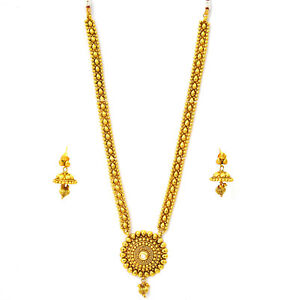 Indian Jewelry Ethnic Bollywood Long Necklace Earrings Pearl Kundan