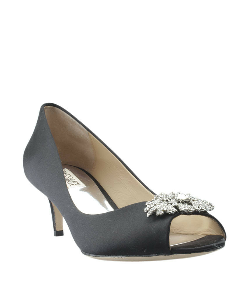 Badgley Mischka Black Satin Kitten Heels, Size 9