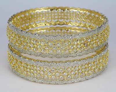 2 Tone Gold plated AD bangle bracelet kara  women new wedding party Traditional