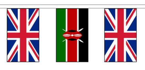Kenya & United Kingdom UK Polyester Flag Bunting - 20m with 56 Flags