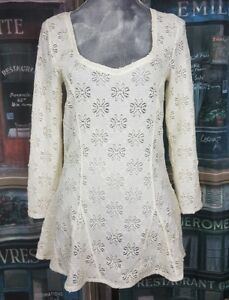50e0683024e FREE PEOPLE Sz L Ivory color Floral Lace Cutout Long Sleeve Sheer ...
