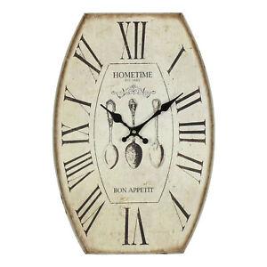 Hometime-Shabby-Chic-en-metal-effet-vieilli-Bon-Appetit-Couverts-savourer-Horloge-Murale