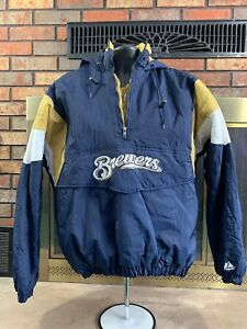 Vintage-Milwaukee-Brewers-MLB-Hooded-1-4-Zip-Pullover-Puffer-Jacket-Mens-Medium