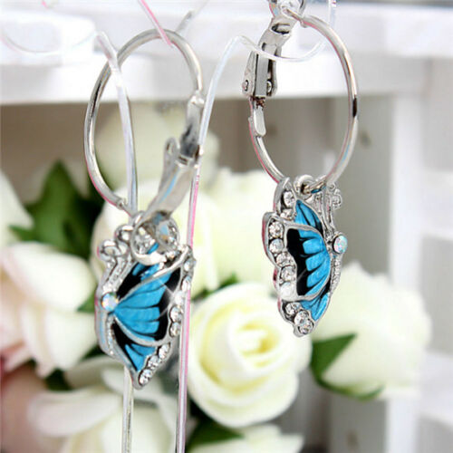 New Fashion Sparkling Crystal Diamante Blue Butterfly Hoop Silver Earrings