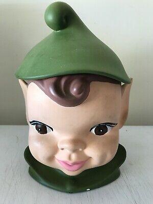 Lot - Vintage 1940s Elf Pixie Head Pottery Ceramic Cookie Jar