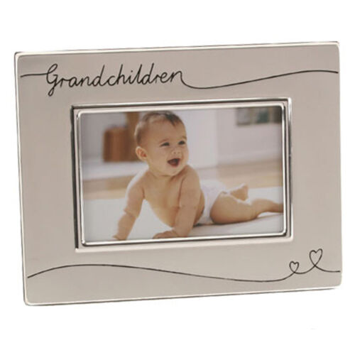 """Grandchildren Gift Silver Plated Two Tone 6/""""x4/"""" Photo Frame with Hearts"""