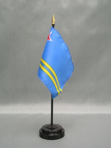 "ARUBA 4X6/"" TABLE TOP FLAG W// BASE NEW DESK TOP HANDHELD STICK FLAG"