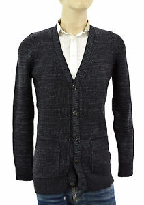 1-195-BURBERRY-BRIT-Gray-Violet-Cardigan-Cachemire-Laine-Homme-Pull-Taille-M