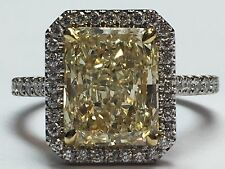 3.86ct TW Cocktail Plat Ring GIA Natural Yellow Diamond Radiant Gem Stone Loose