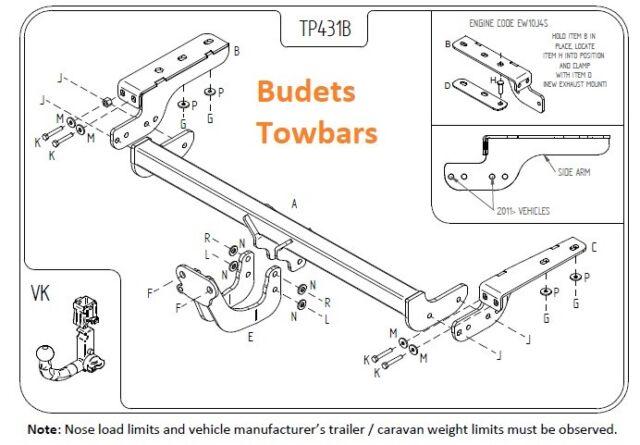Towbar for Citroen DS4 2011 On Flange Tow Bar
