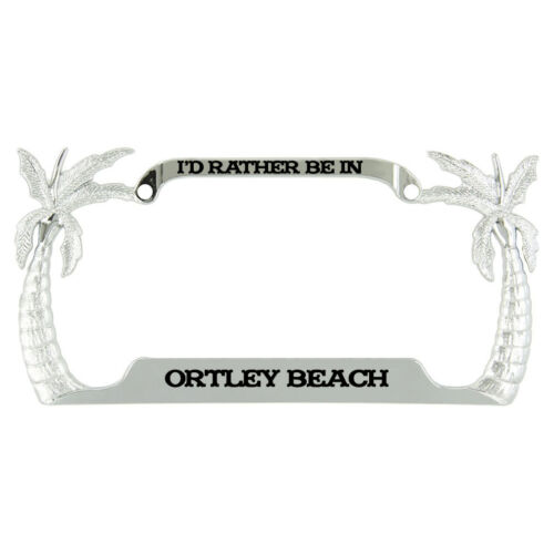 I/'d Rather Be In Ortley Beach Palm Tree Metal License Plate Frame Tag Holder