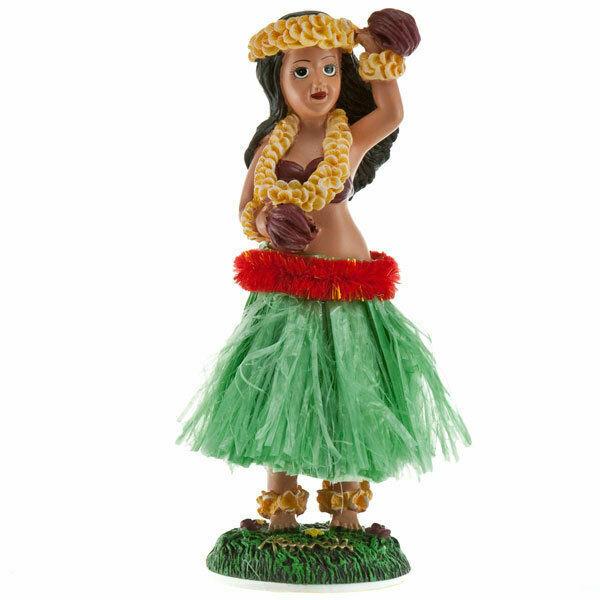 Hawaiian Ukulele Green Skirt Dashboard Hula Doll Vintage Style Tiki Decor 2 x 7