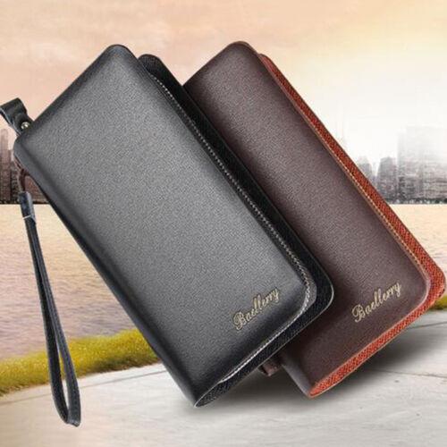 Men/'s Leather Clutch Bag Long Wallet Purse Zipper Card Holder Business Handbag