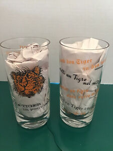 """(2) VINTAGE ESSO EXXON OIL COLLECTOR GLASSES """"PUT A TIGER IN YOUR TANK"""""""