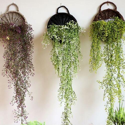 1* Wall Hanging Flowers Basket Bird Nest Wicker Gardening Home Decor A2U6