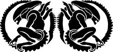 MIRRORED PAIR OF ALIEN PREDATOR STICKERS FOR CAR VAN BOAT WALL FRAME CRAFT