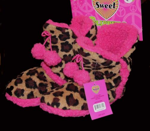 Leopard Cheetah Print /& Hot Pink Plush Furry Tall Slippers Booties Wms NWT