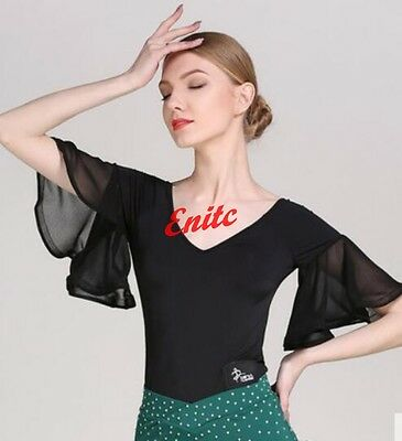 Lady Morden V-neck Tops Mid Sleeve Ballroom Dance Tango Latin Shirts Blouse Y-37