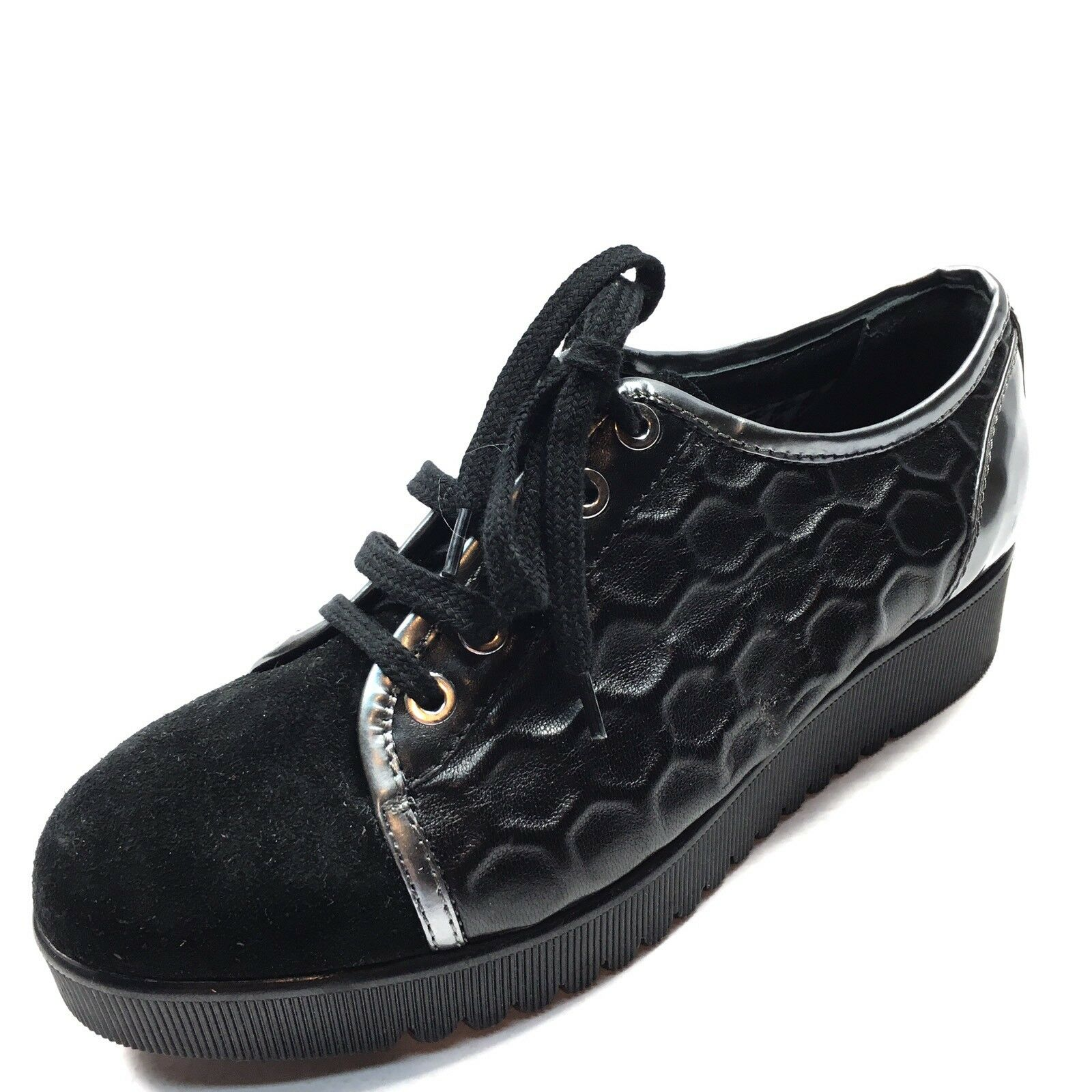 Aquatalia by Marvin K. Aida Black Leather Platform Oxfords Women's Size 5.5 M