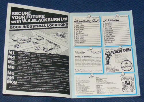 COVENTRY CITY HOME PROGRAMMES 1982-1983