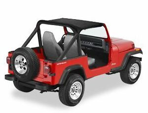 Jeep Bimini Top >> Details About 1987 1991 Jeep Wrangler Bimini Bikini Top Black Denim And Windshield Channel