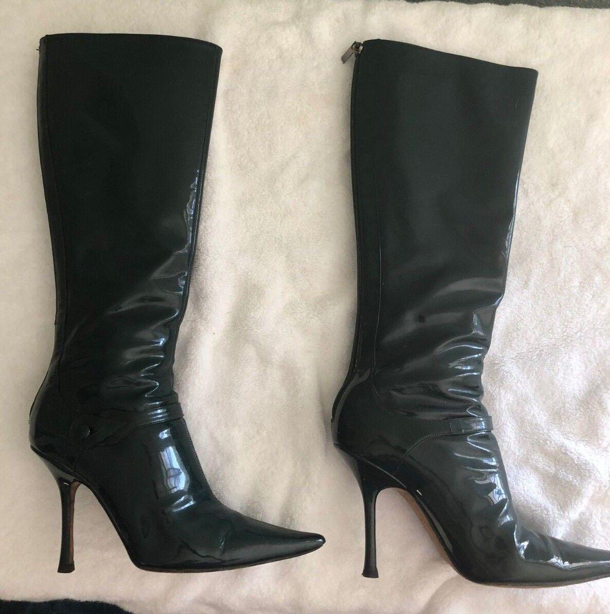 EUC Jimmy Jimmy Jimmy Choo Patent Leather High Stiefel 38.5 (8) EverGrün ab3883