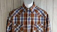 Lucky Brand Mens Pearl Snap Shirt Size M Medium LS Western BrownTan 100% Cott  C
