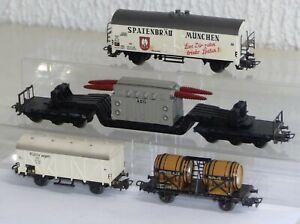 4-Maerklin-Gueterwagen-4508-4654-Spaten-4510-Bordeaux-4617-Tiefladewagen-H0-1-87