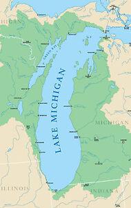 Framed Print Map Of Lake Michigan America Picture Great Lakes - Mapa de michigan
